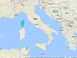 Corsica in Mediterranean Sea
