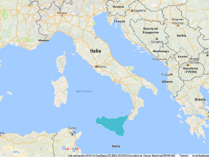 Sicily in Mediterranean Sea
