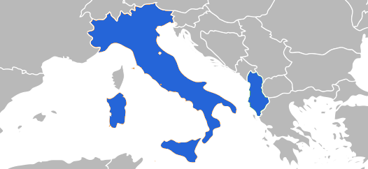 Italia and Albania in a map